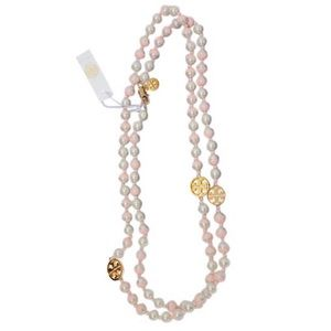TORY BURCH Evie Dipped Pearly Rosary Logo Necklace